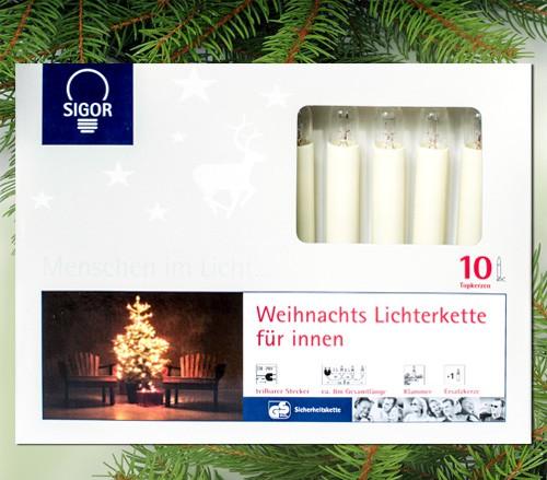 10-teilige Topkerzen-Lichterkette für innen