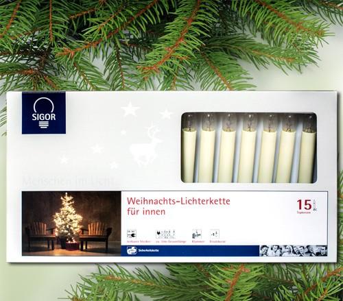 15-teilige Topkerzen-Lichterkette für innen