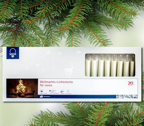 20-teilige Topkerzen-Lichterkette für innen